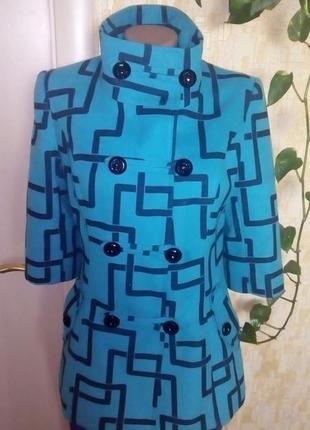 Красивое бирюзовое пальто/пальто/полупальто/куртка/кофта/кардиган/пиджак/жакет/1 фото