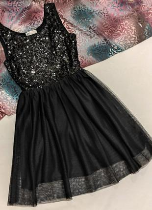Черное нарядное платье,паетки,сарафан1 фото