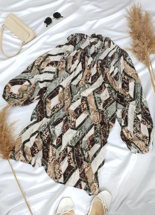 Шикарна сукня в зміїний принт з об'ємними рукавами від h&m7 фото