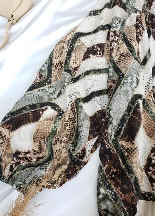 Шикарна сукня в зміїний принт з об'ємними рукавами від h&m9 фото