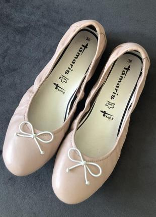 Кожаные нюдовый базовые балетки мокасины tamaris 38 24см2 фото