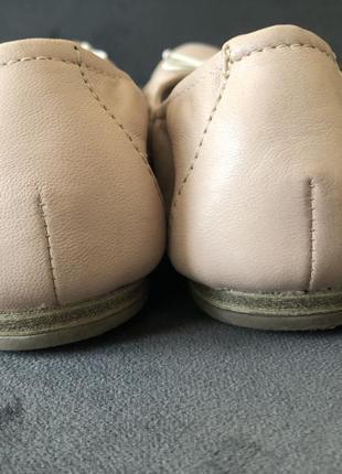 Кожаные нюдовый базовые балетки мокасины tamaris 38 24см5 фото