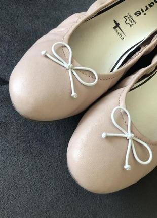 Кожаные нюдовый базовые балетки мокасины tamaris 38 24см4 фото