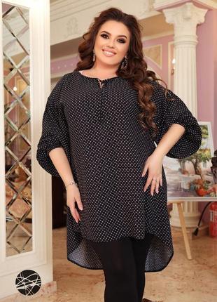 Размеры от 48 до 66!! костюм из свободной блузы и леггинсов-капри черный1 фото
