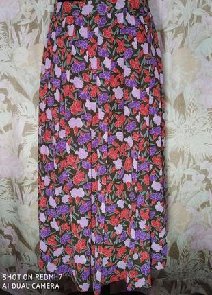 Bickler. винтажная летняя юбка в цветах.3 фото