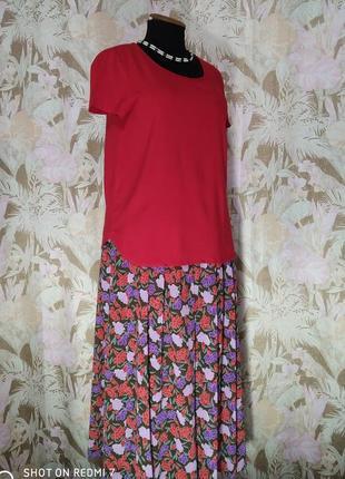 Bickler. винтажная летняя юбка в цветах.6 фото