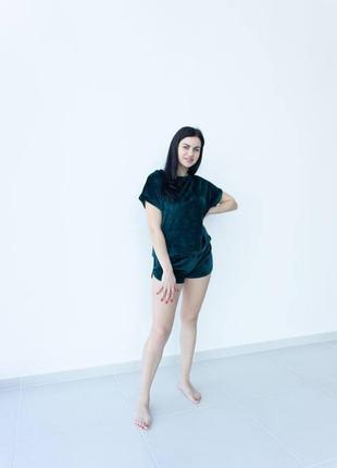 Пижама велюр плюш футболка шорты3 фото