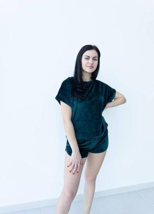 Пижама велюр плюш футболка шорты1 фото