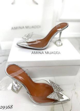 🔥 шикарные силиконовые босоножки прозрачные туфли каблук рюмочка amina muaddi5 фото