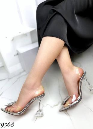 🔥 шикарные силиконовые босоножки прозрачные туфли каблук рюмочка amina muaddi2 фото