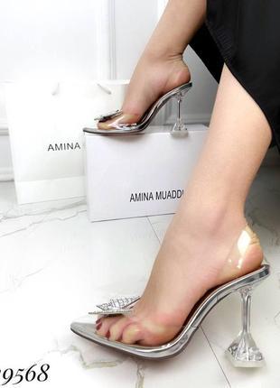 🔥 шикарные силиконовые босоножки прозрачные туфли каблук рюмочка amina muaddi3 фото