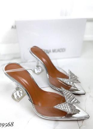 🔥 шикарные силиконовые босоножки прозрачные туфли каблук рюмочка amina muaddi1 фото