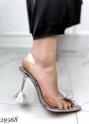 🔥 шикарные силиконовые босоножки прозрачные туфли каблук рюмочка amina muaddi6 фото