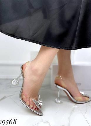 🔥 шикарные силиконовые босоножки прозрачные туфли каблук рюмочка amina muaddi7 фото