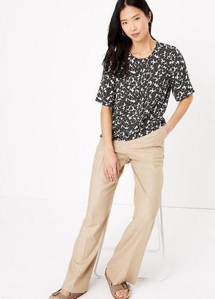 Блуза из тканого материала со складками и цветочным принтом1 фото