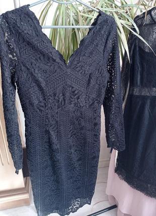 Гипюровое чёрное платье 38р1 фото
