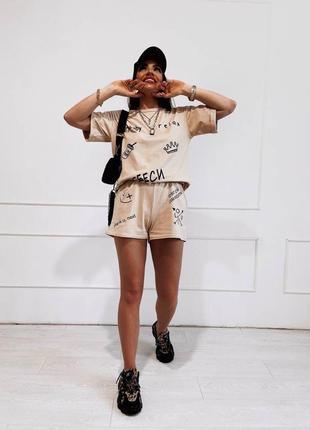 Летний женский костюм футболка и шорты3 фото