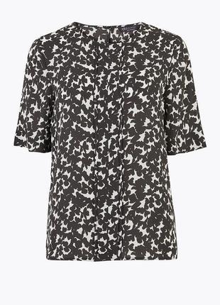 Блуза из тканого материала со складками и цветочным принтом3 фото