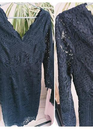 Гипюровое чёрное платье 38р2 фото