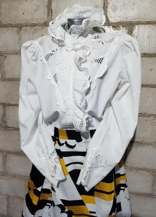 Винтаж блузон ретро прошва вышивка