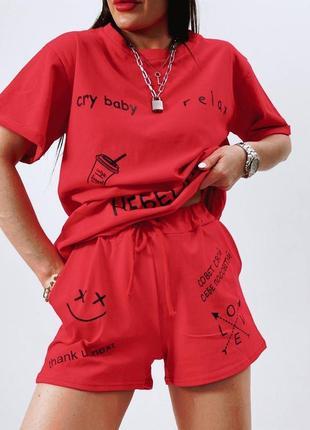 Летний женский костюм футболка и шорты2 фото