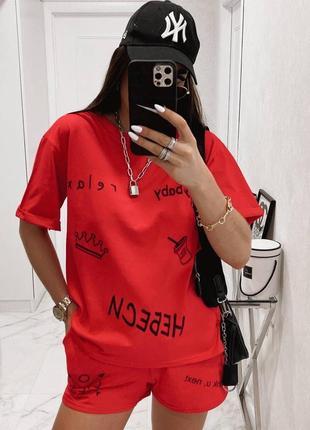 Летний женский костюм футболка и шорты4 фото
