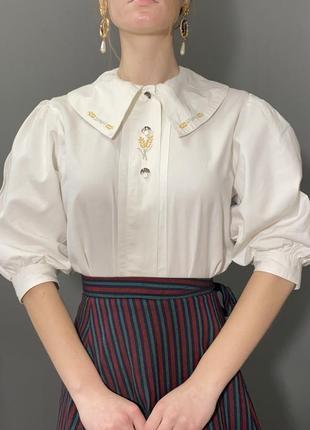Винтажная блуза большой отложной воротник вышивка колоски vintage retro1 фото