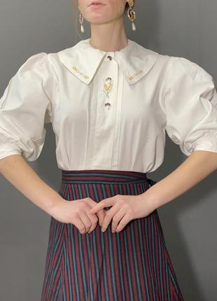 Винтажная блуза большой отложной воротник вышивка колоски vintage retro2 фото