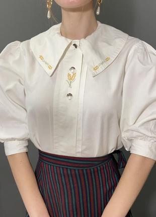 Винтажная блуза большой отложной воротник вышивка колоски vintage retro3 фото