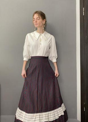 Винтажная блуза большой отложной воротник вышивка колоски vintage retro4 фото