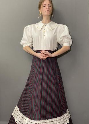 Винтажная блуза большой отложной воротник вышивка колоски vintage retro6 фото