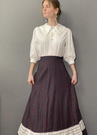 Винтажная блуза большой отложной воротник вышивка колоски vintage retro5 фото