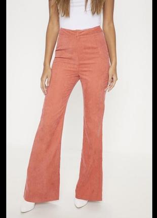 Штаны брюки кюлоты оранжевый высокая посадка морковный2 фото
