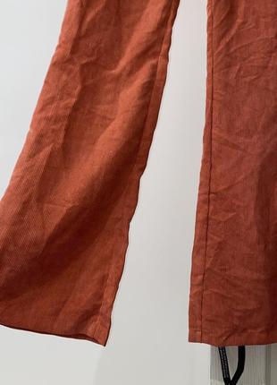 Штаны брюки кюлоты оранжевый высокая посадка морковный4 фото
