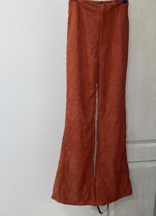 Штаны брюки кюлоты оранжевый высокая посадка морковный6 фото