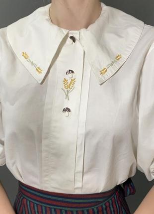 Винтажная блуза большой отложной воротник вышивка колоски vintage retro7 фото