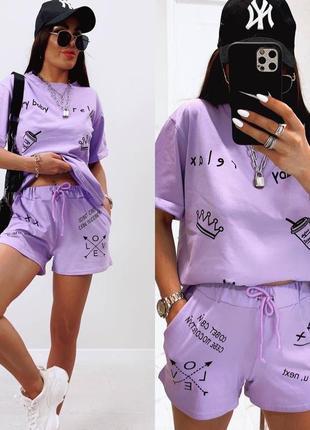 Летний женский костюм футболка и шорты1 фото