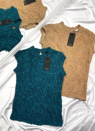 Кружевная блуза reserved бежевого цвета с воротником стойкой, размер с3 фото