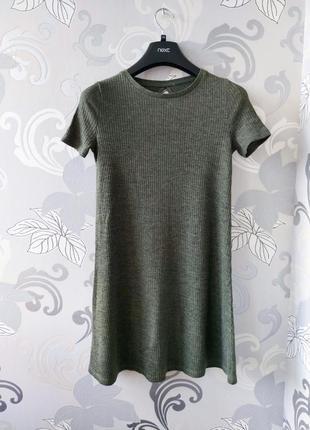 Хаки зелёное короткое мини платье в рубчик платье фктболка1 фото