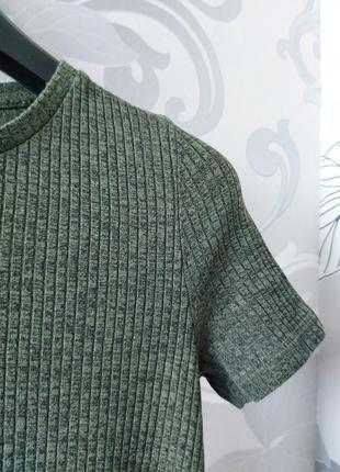 Хаки зелёное короткое мини платье в рубчик платье фктболка2 фото