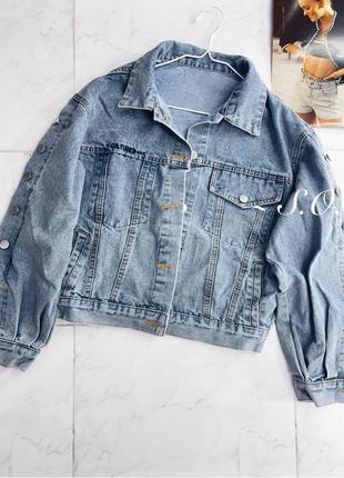 Джинсовый пиджак куртка косуха1 фото