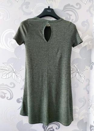Хаки зелёное короткое мини платье в рубчик платье фктболка4 фото