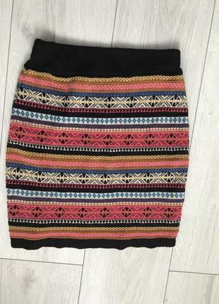 Юбка, вязанная юбка, разноцветная юбка, модная юбка, стильная юбка, зимняя юбка.5 фото