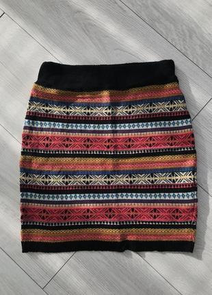 Юбка, вязанная юбка, разноцветная юбка, модная юбка, стильная юбка, зимняя юбка.1 фото