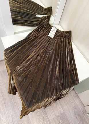 Шикарная золотистая и серебристая плиссированная юбка размер хс, с4 фото
