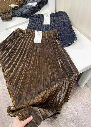 Шикарная золотистая и серебристая плиссированная юбка размер хс, с2 фото