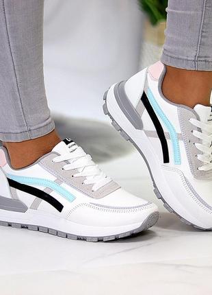 Универсальные белые повседневные женские кроссовки со светоотражающими полосами весна 20216 фото