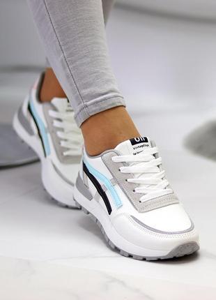 Универсальные белые повседневные женские кроссовки со светоотражающими полосами весна 202110 фото