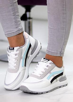 Универсальные белые повседневные женские кроссовки со светоотражающими полосами весна 20218 фото