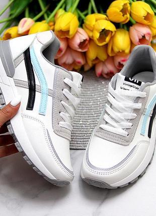 Универсальные белые повседневные женские кроссовки со светоотражающими полосами весна 20212 фото
